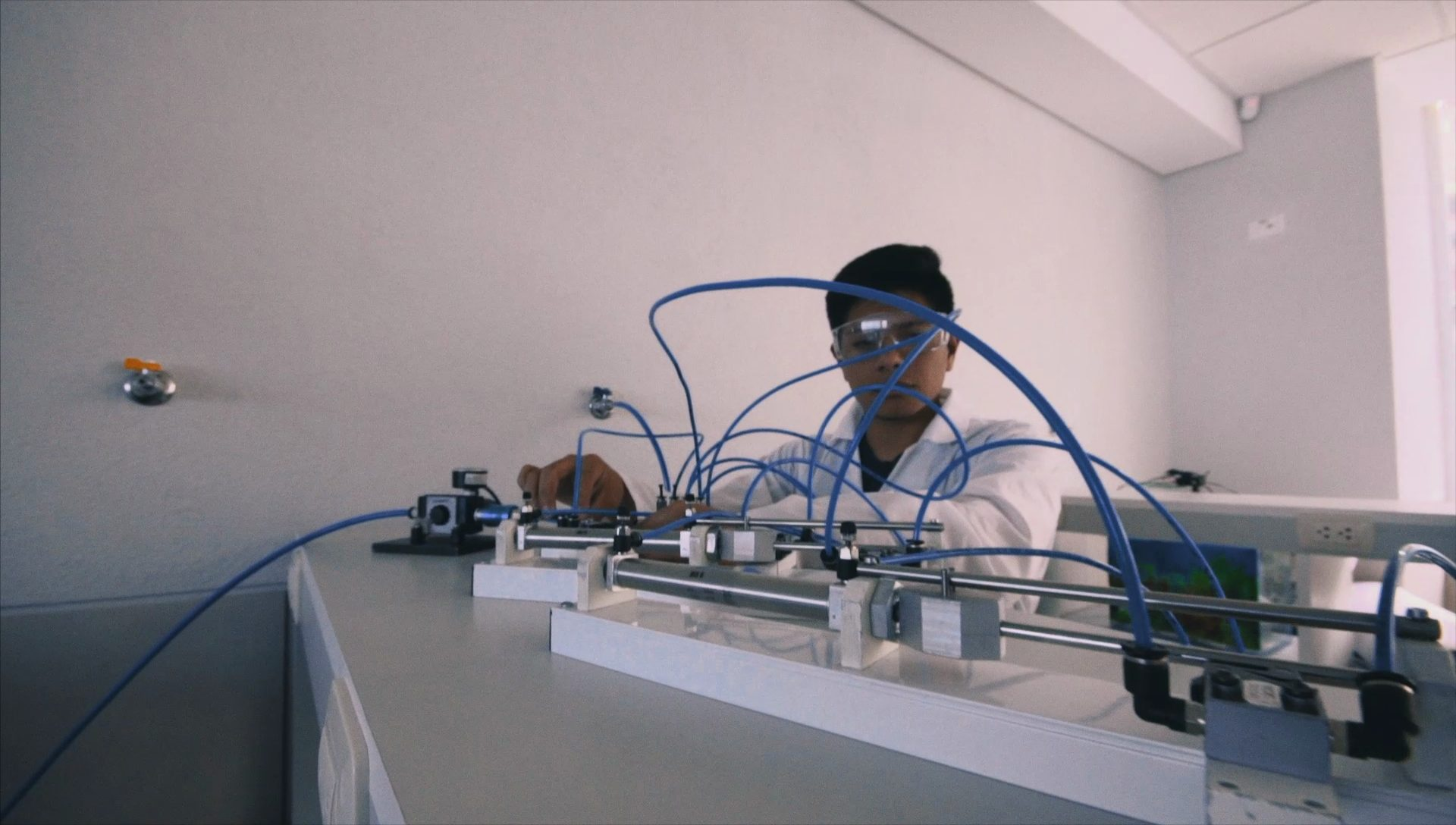 Student with pneumatic actuators